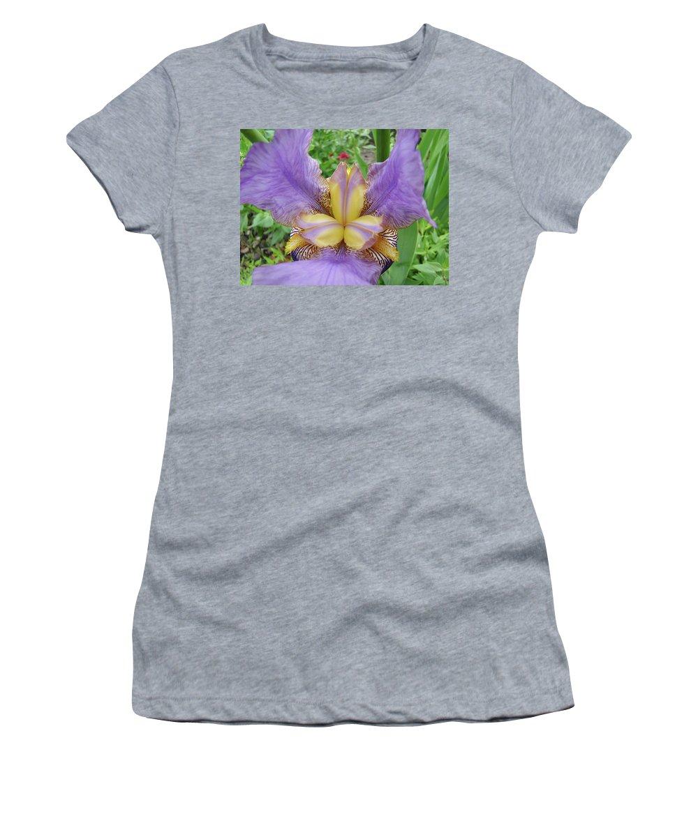 �irises Artwork� Women's T-Shirt (Athletic Fit) featuring the photograph Iris Flower Lavender Purple Yellow Irises Garden 19 Art Prints Baslee Troutman by Baslee Troutman