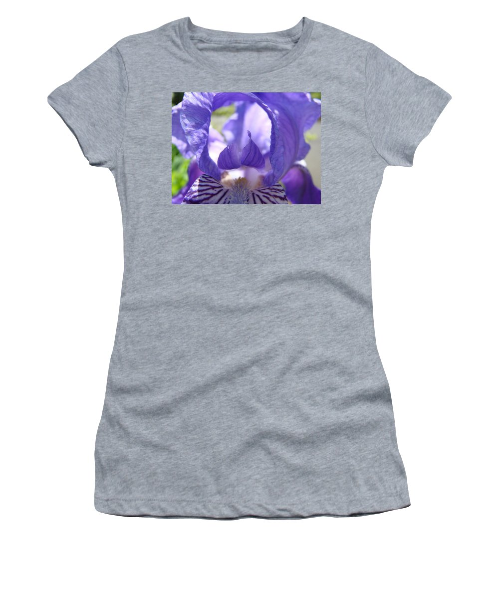 �irises Artwork� Women's T-Shirt (Athletic Fit) featuring the photograph Iris Flower Purple Irises Floral Botanical Art Prints Macro Close Up by Baslee Troutman