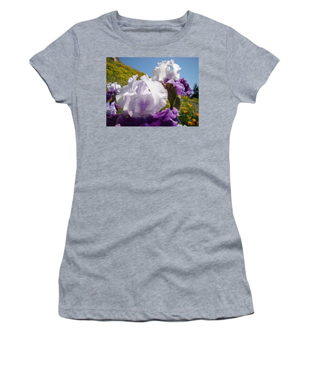 �irises Artwork� Women's T-Shirt featuring the photograph Iris Flowers Purple White Irises Poppy Hillside Landscape Art Prints Baslee Troutman by Baslee Troutman