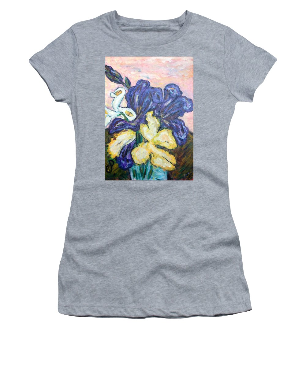 Iris Women's T-Shirt (Athletic Fit) featuring the painting Iris Still Life by Carolyn Donnell