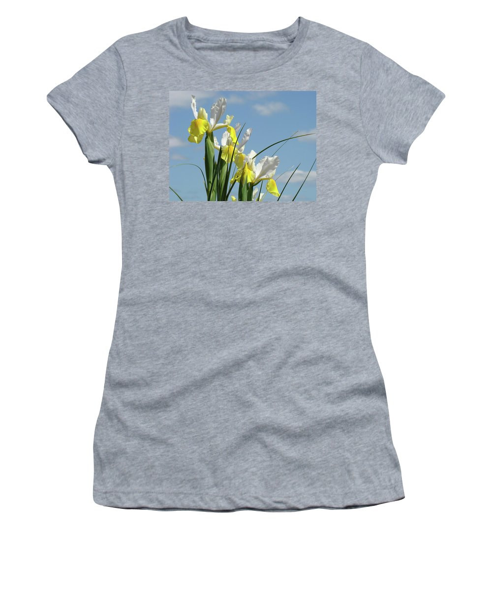 Iris Women's T-Shirt featuring the photograph Irises In Blue Sky Art Print Spring Iris Flowers Baslee Troutman by Baslee Troutman