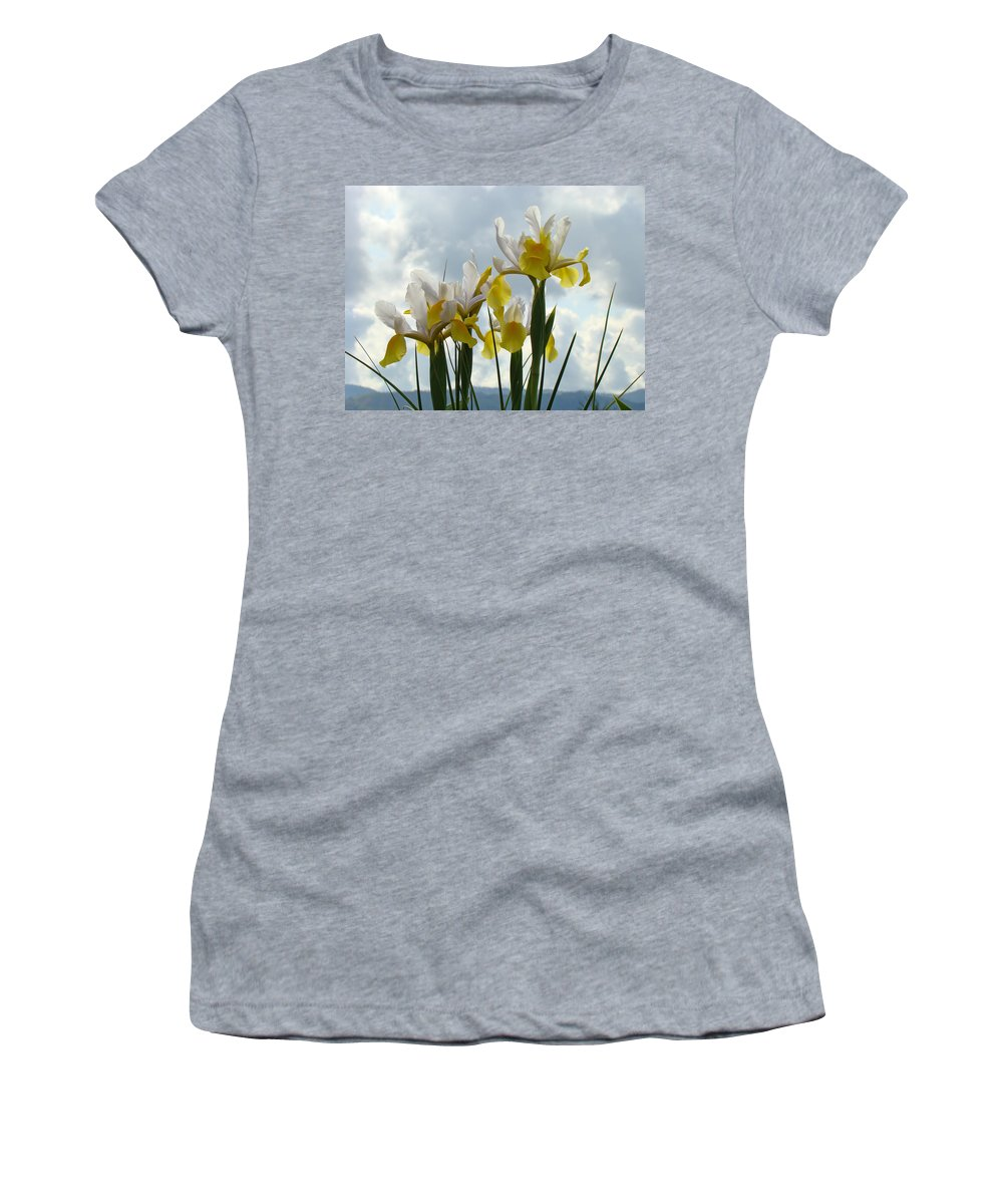 �irises Artwork� Women's T-Shirt (Athletic Fit) featuring the photograph Irises Yellow White Iris Flowers Storm Clouds Sky Art Prints Baslee Troutman by Baslee Troutman