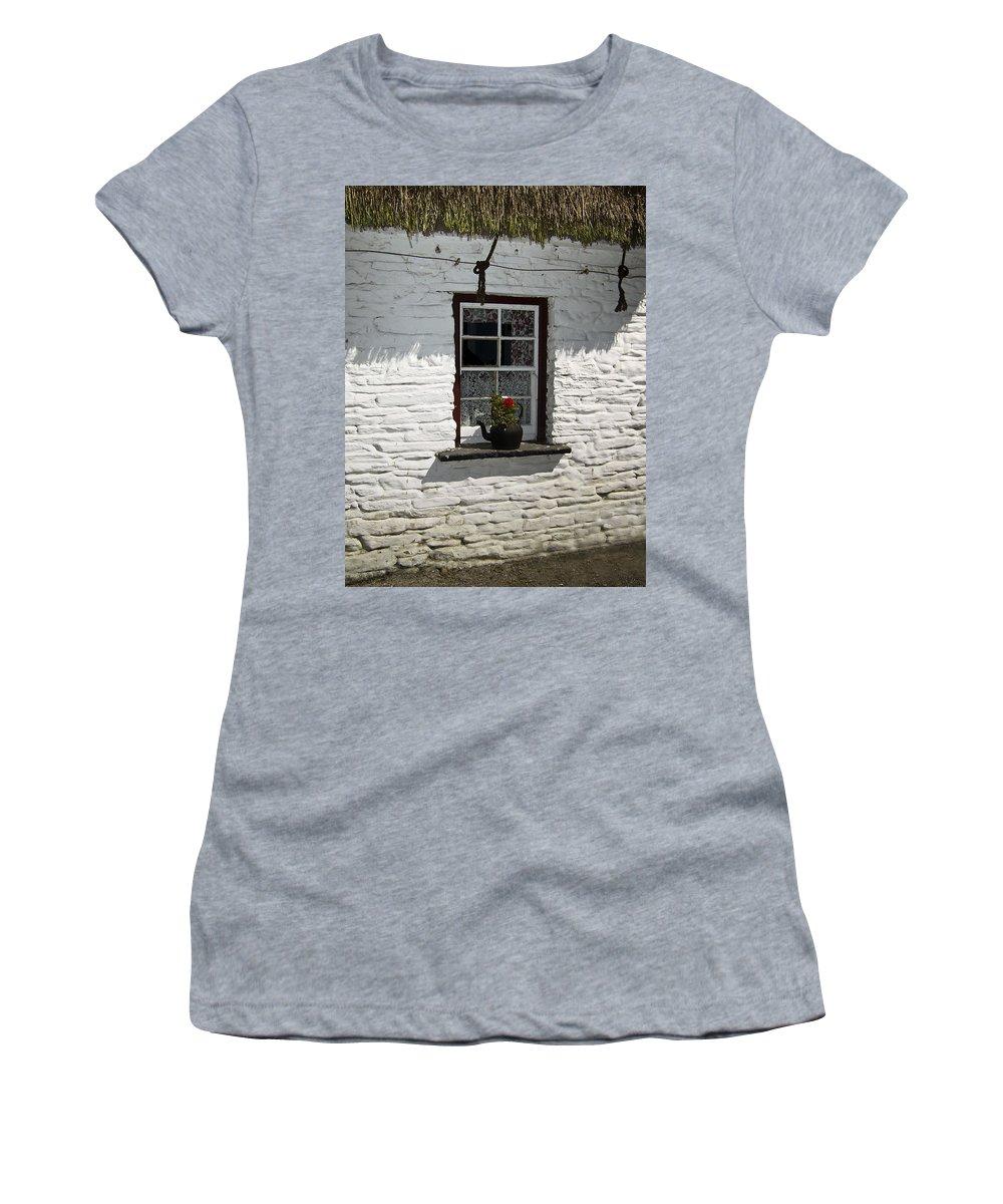 Irish Women's T-Shirt featuring the photograph Irish Kettle Of Geraniums County Cork Ireland by Teresa Mucha