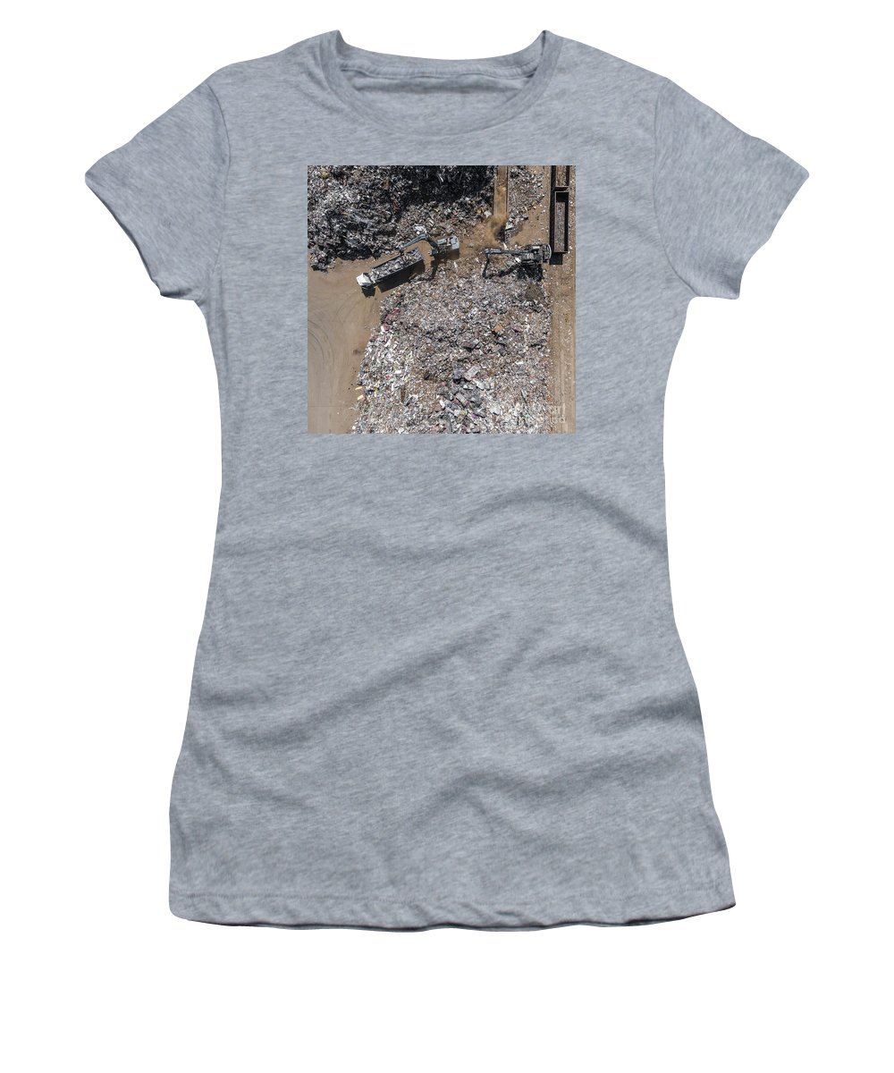Outdoor Women's T-Shirt (Athletic Fit) featuring the photograph Iron Raw Materials Recycling Pile, Work Machines. by Mariusz Prusaczyk