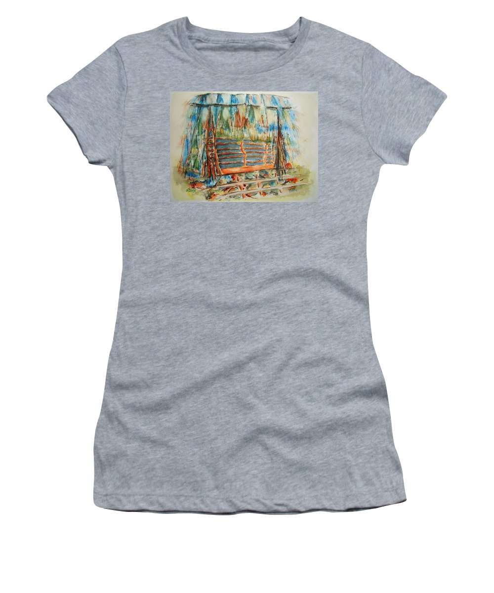 Hawaii Women's T-Shirt featuring the painting Island Rest Spot by Elaine Duras