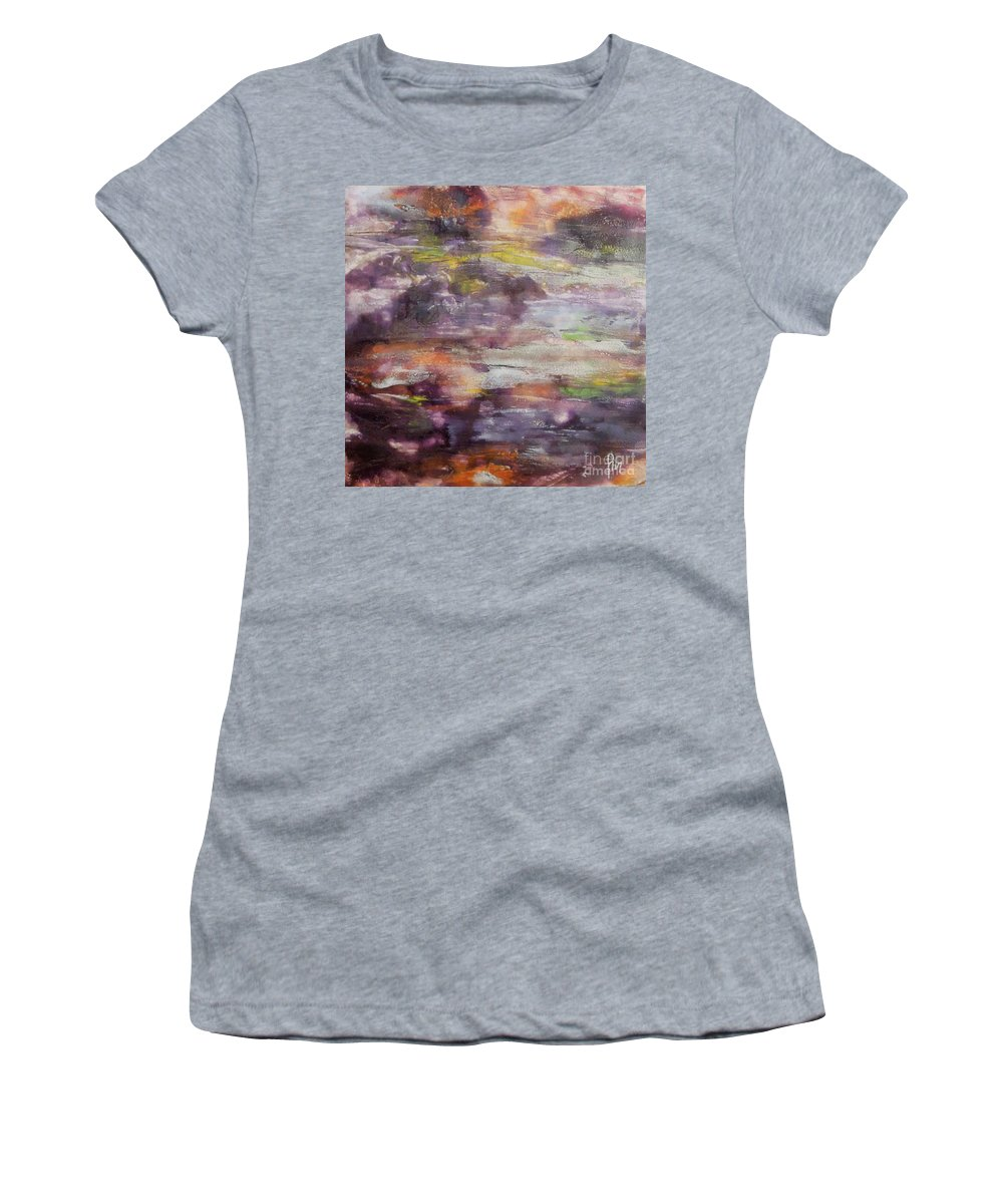 Snow Women's T-Shirt (Athletic Fit) featuring the painting It Is Thawing by Dragica Micki Fortuna