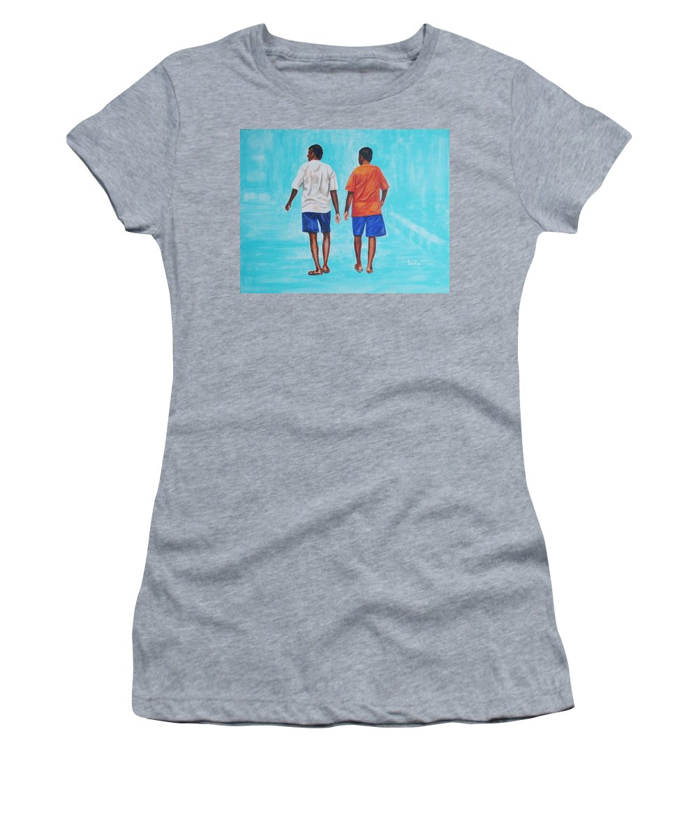 Women's T-Shirt featuring the painting Jay Walkers by Usha Shantharam