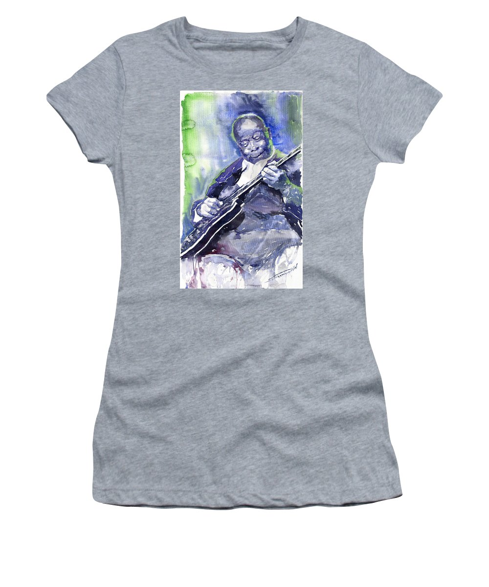 Jazz Women's T-Shirt (Athletic Fit) featuring the painting Jazz B B King 02 by Yuriy Shevchuk