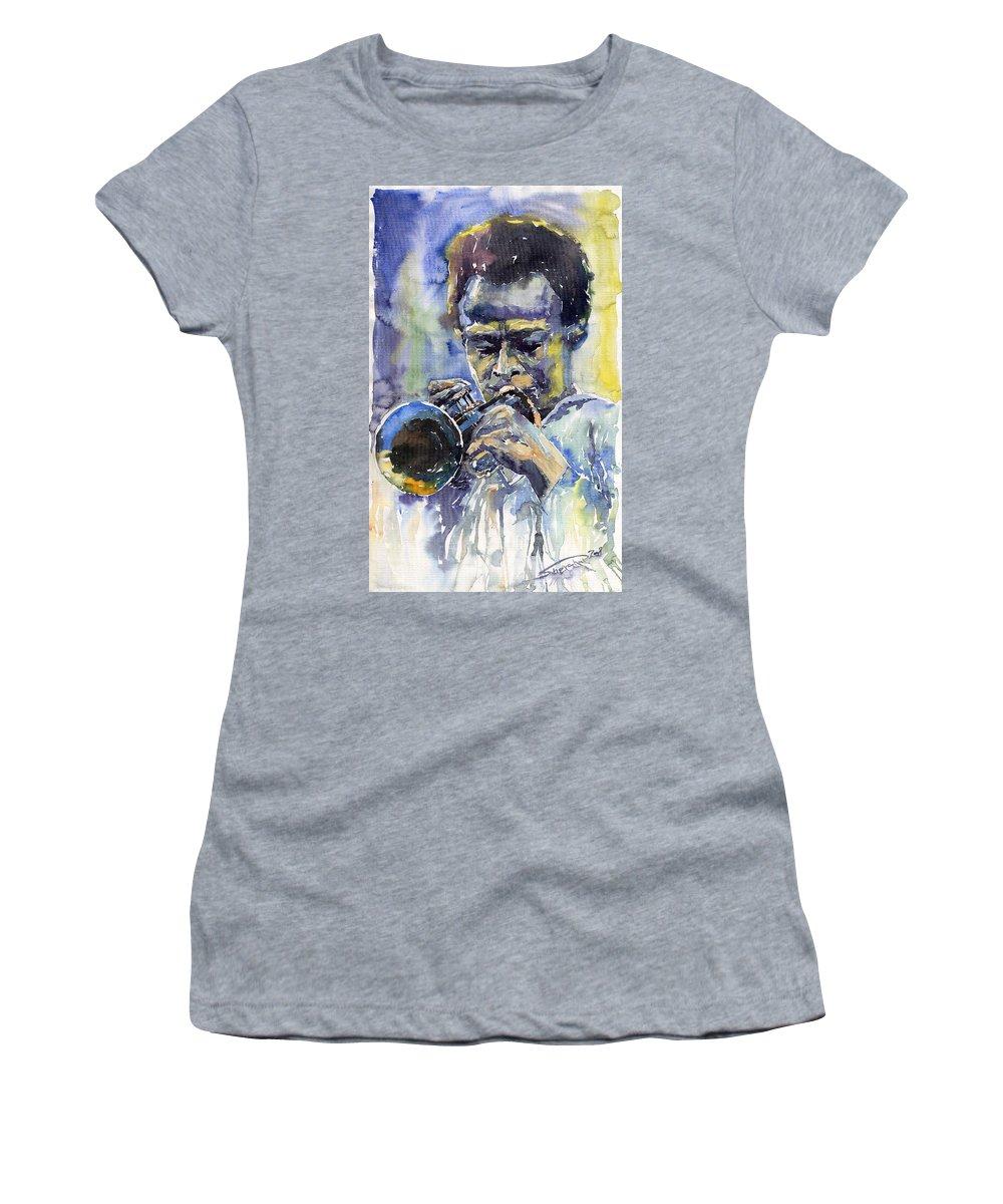 Jazz Women's T-Shirt featuring the painting Jazz Miles Davis 12 by Yuriy Shevchuk