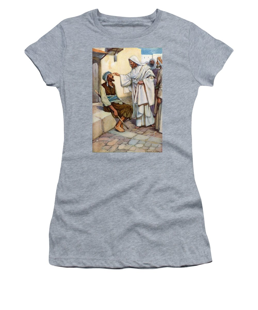 Bible; Biblical; Stories; Jesus; Blind Man Women's T-Shirt (Athletic Fit) featuring the painting Jesus And The Blind Man by Arthur A Dixon