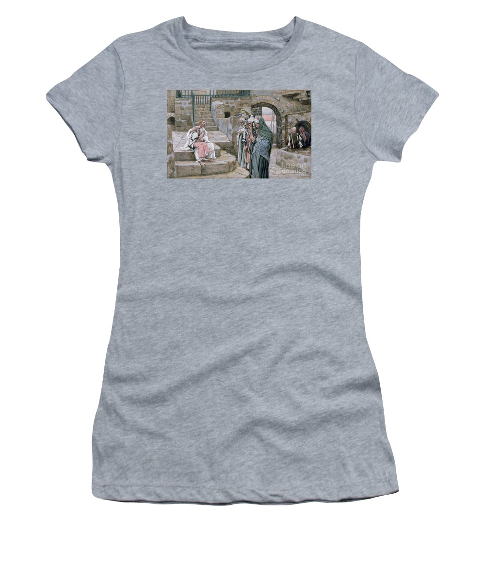 Christian Women's T-Shirt (Athletic Fit) featuring the painting Jesus And The Little Child by Tissot