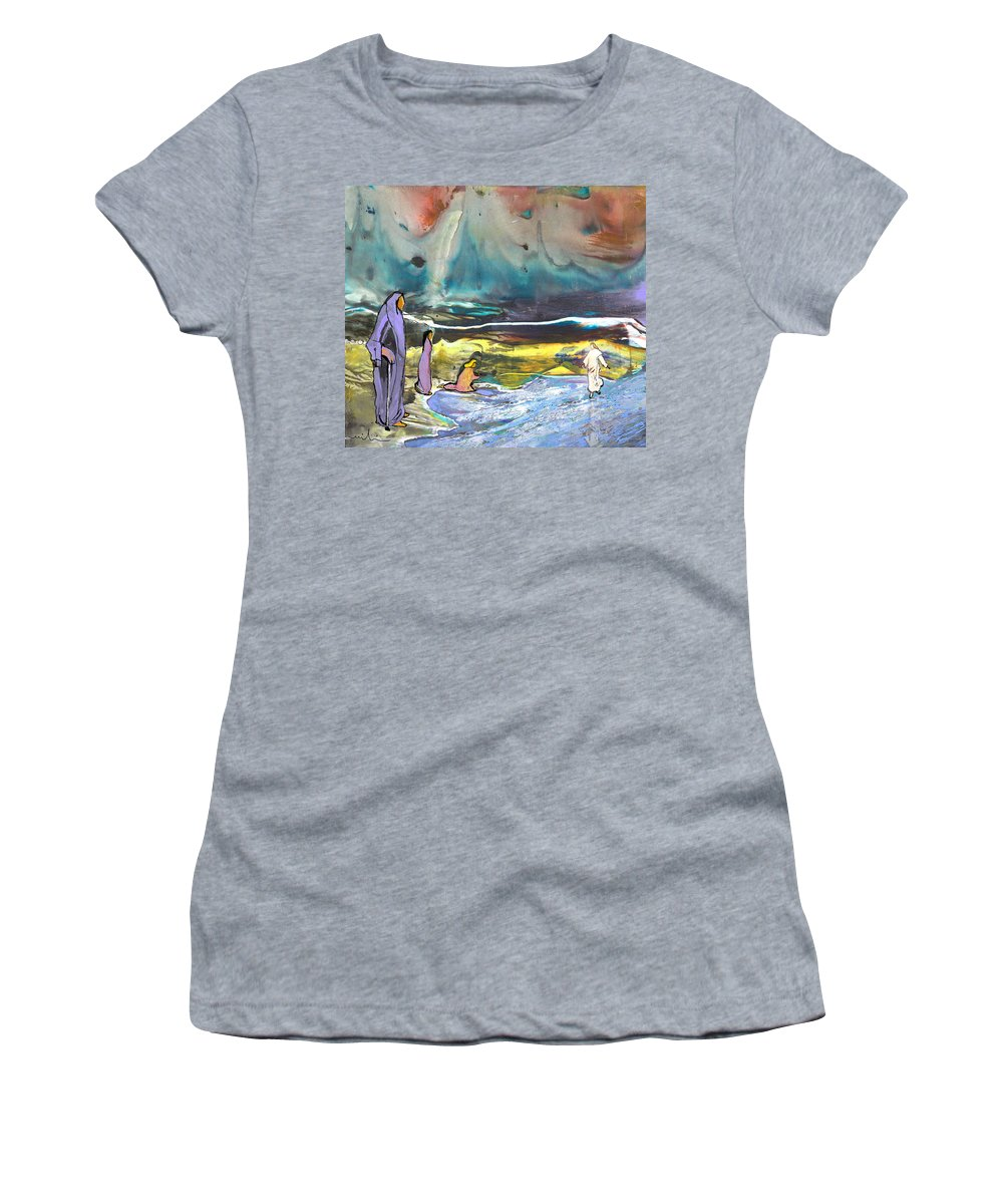Religion Women's T-Shirt (Athletic Fit) featuring the painting Jesus Walking On The Water by Miki De Goodaboom