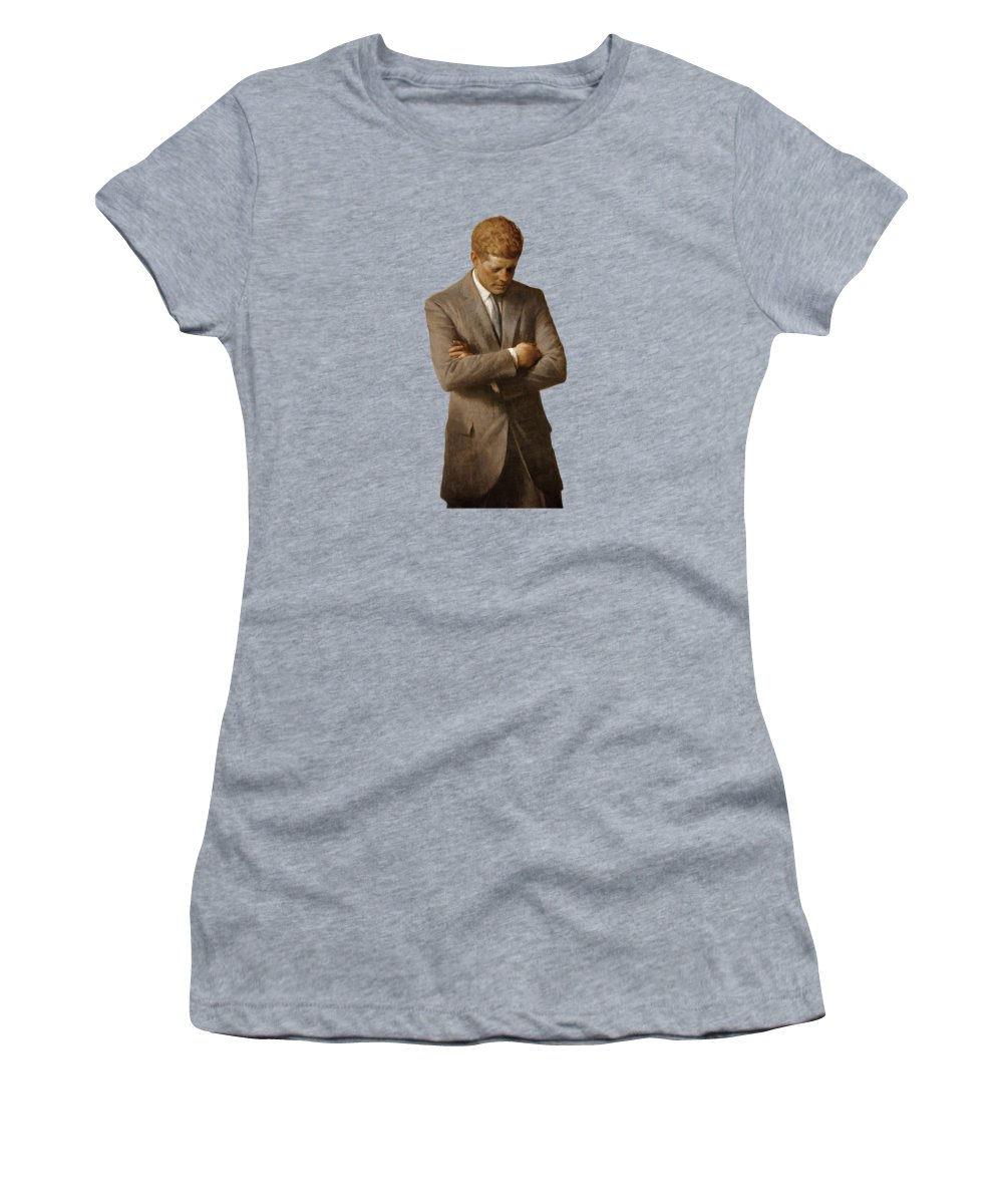 Jfk Women's T-Shirt featuring the painting John F Kennedy by War Is Hell Store