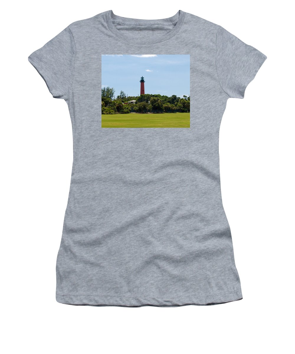 Florida; Juptier; Inlet; Loxahatchee; River; Atlantic; Coast; Shore; Beach; Light; Lighthouse; Beaco Women's T-Shirt (Athletic Fit) featuring the photograph Jupiter Inlet Lighthouse by Allan Hughes