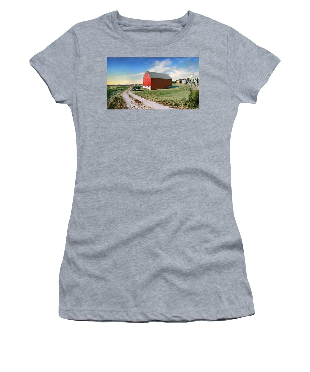 Barn Women's T-Shirt featuring the photograph Kansas landscape II by Steve Karol