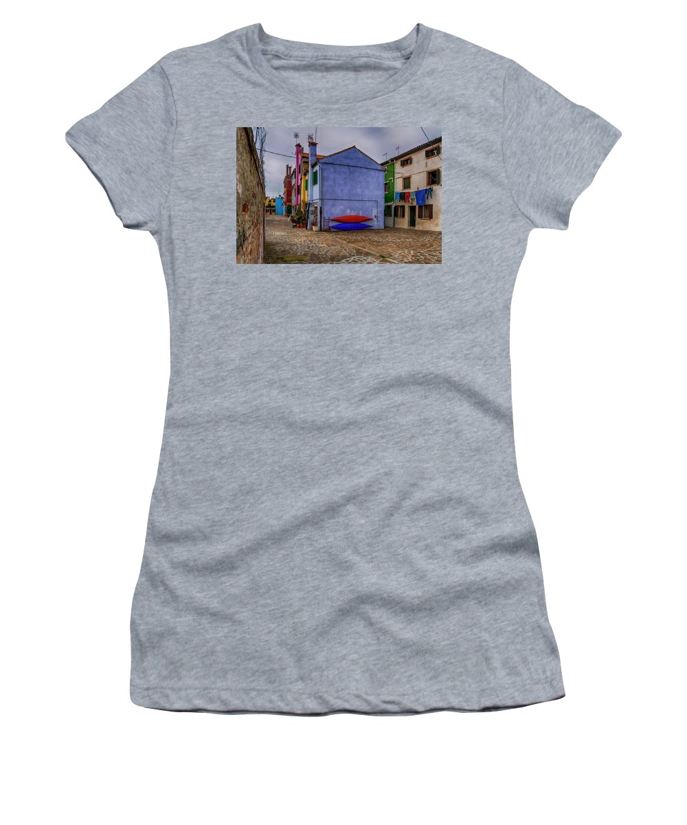 Burano Women's T-Shirt (Athletic Fit) featuring the photograph Kayaks On Burano Venice_dsc5681_03072017 by Greg Kluempers