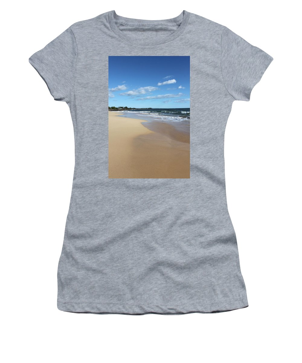 Kekaha Women's T-Shirt (Athletic Fit) featuring the photograph Kekaha Beach by Lauri Novak