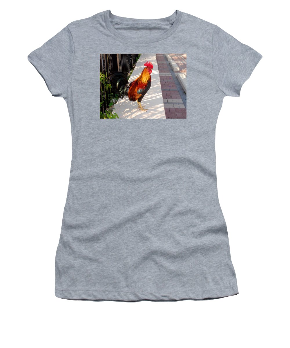 Photography Women's T-Shirt featuring the photograph Key West Rooster by Susanne Van Hulst