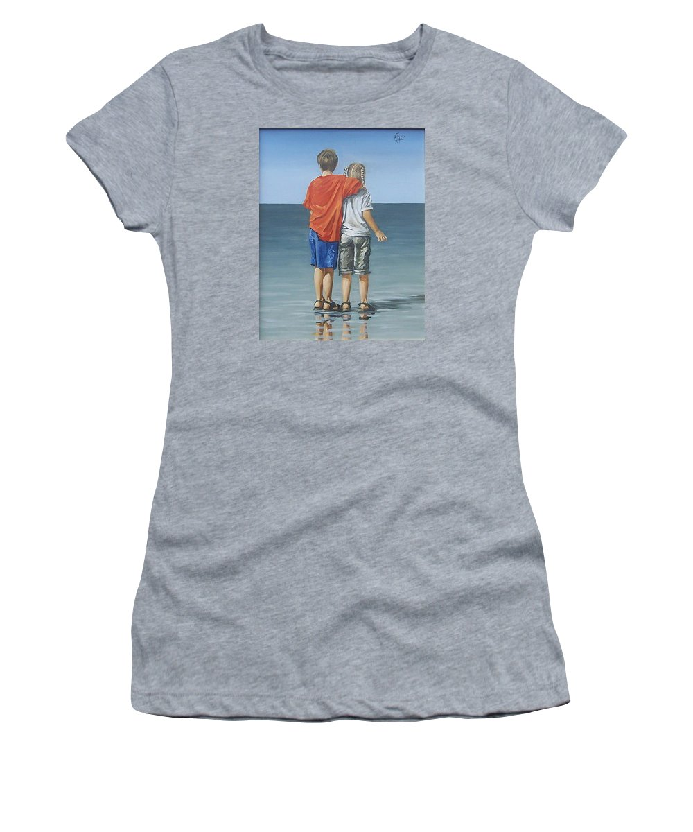 Kids Women's T-Shirt (Athletic Fit) featuring the painting Kids by Natalia Tejera