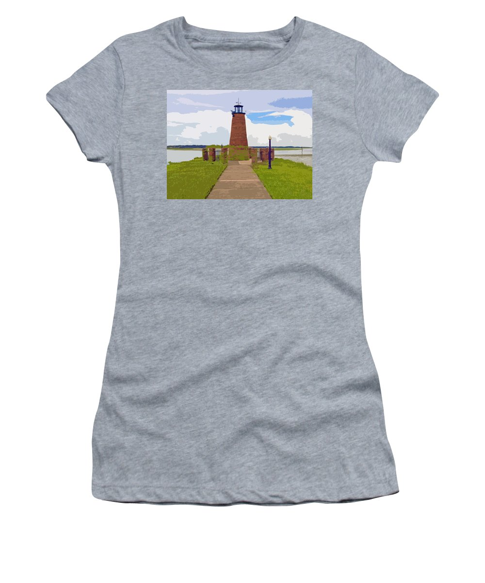 Kissimmee Women's T-Shirt (Athletic Fit) featuring the painting Kissimmee Lighthouse by Allan Hughes