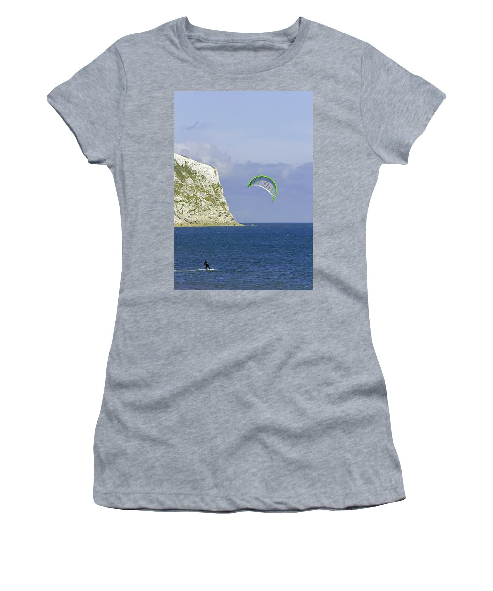 Europe Women's T-Shirt featuring the photograph Kitesurfer At Yaverland by Rod Johnson