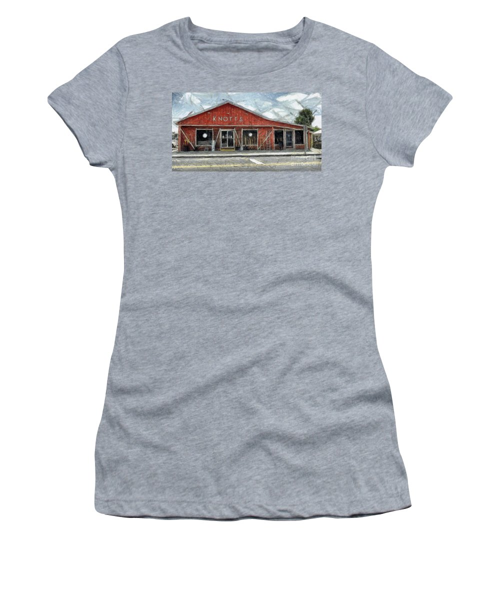 Hardware Women's T-Shirt (Athletic Fit) featuring the painting Knott's Hardware by Murphy Elliott