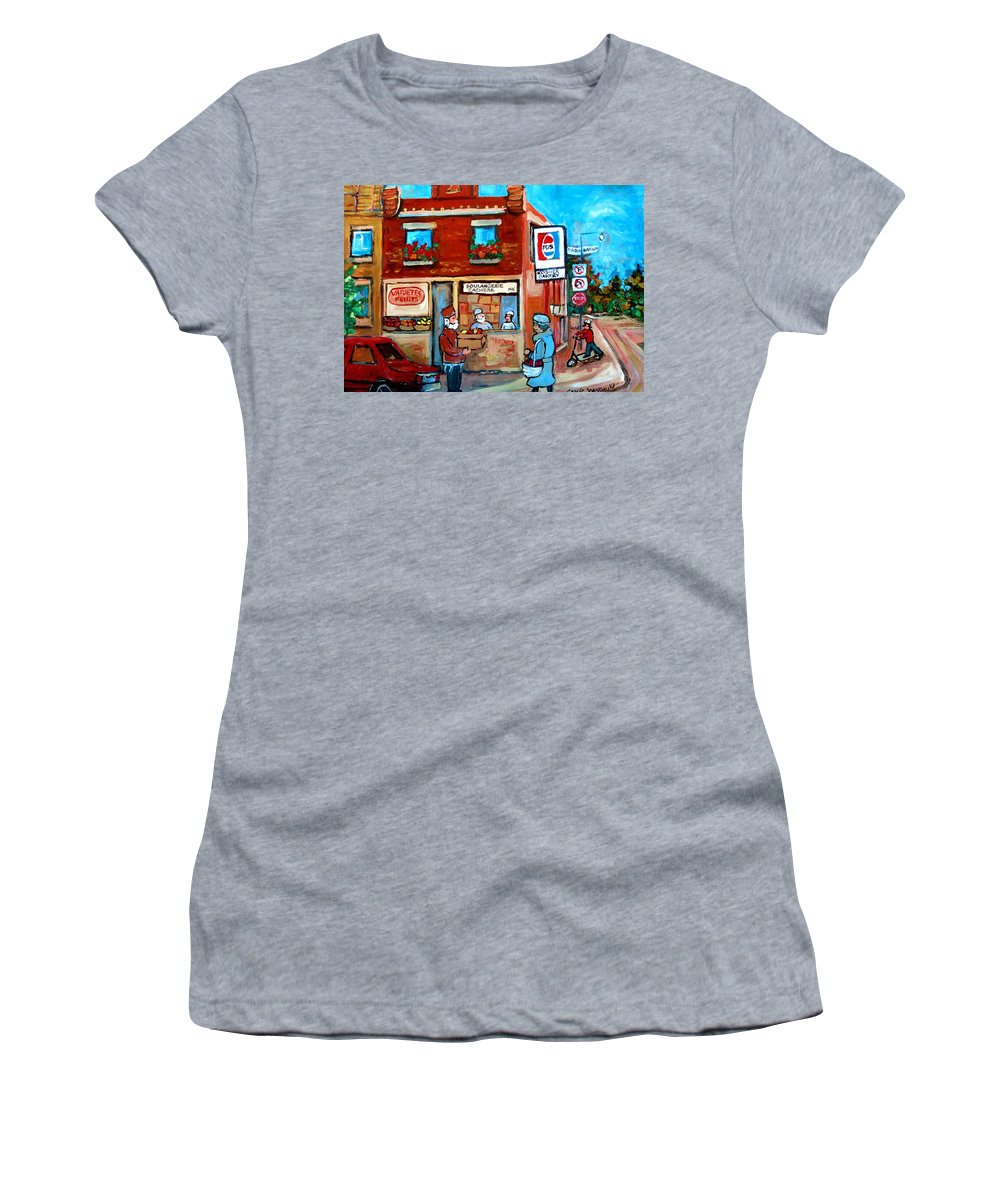 Kosher Bakery Women's T-Shirt (Athletic Fit) featuring the painting Kosher Bakery On Hutchison Street by Carole Spandau