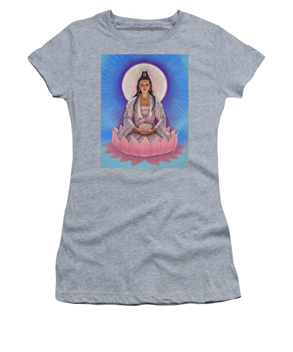 Kuan Yin Women's T-Shirt (Athletic Fit) featuring the painting Kuan Yin by Sue Halstenberg
