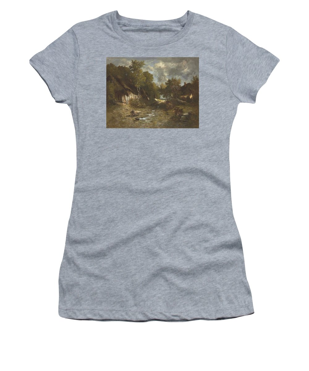 La Ferme Women's T-Shirt (Athletic Fit) featuring the painting La Ferme by MotionAge Designs