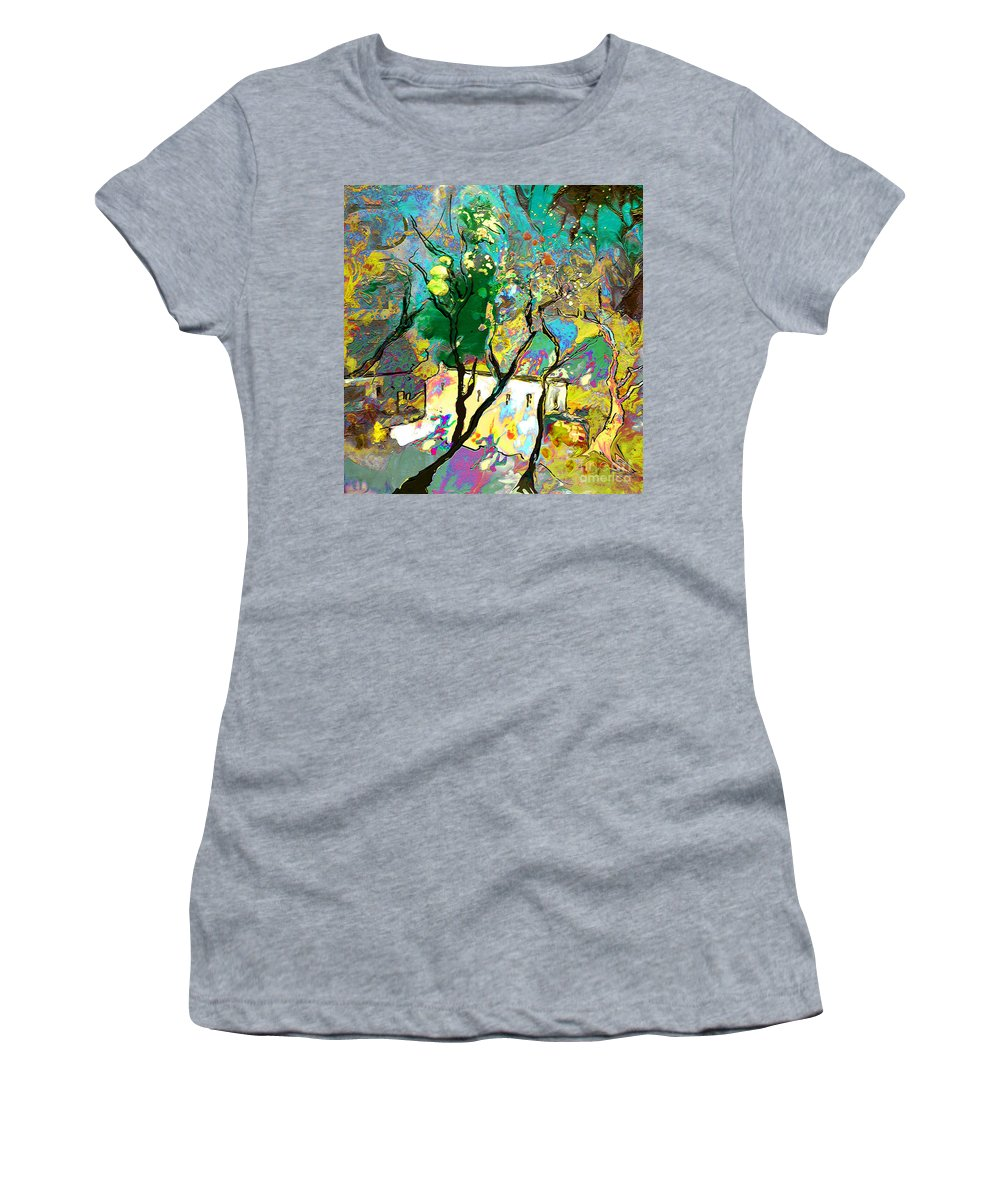 Miki Women's T-Shirt (Athletic Fit) featuring the painting La Provence 16 by Miki De Goodaboom