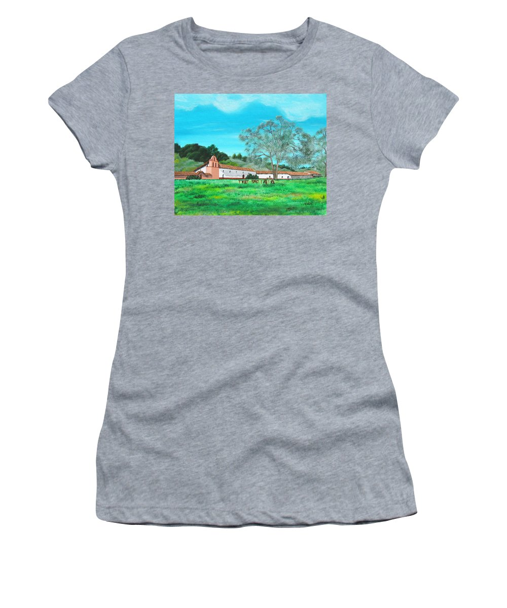 La Purisima Women's T-Shirt (Athletic Fit) featuring the painting La Purisima Mission by Angie Hamlin