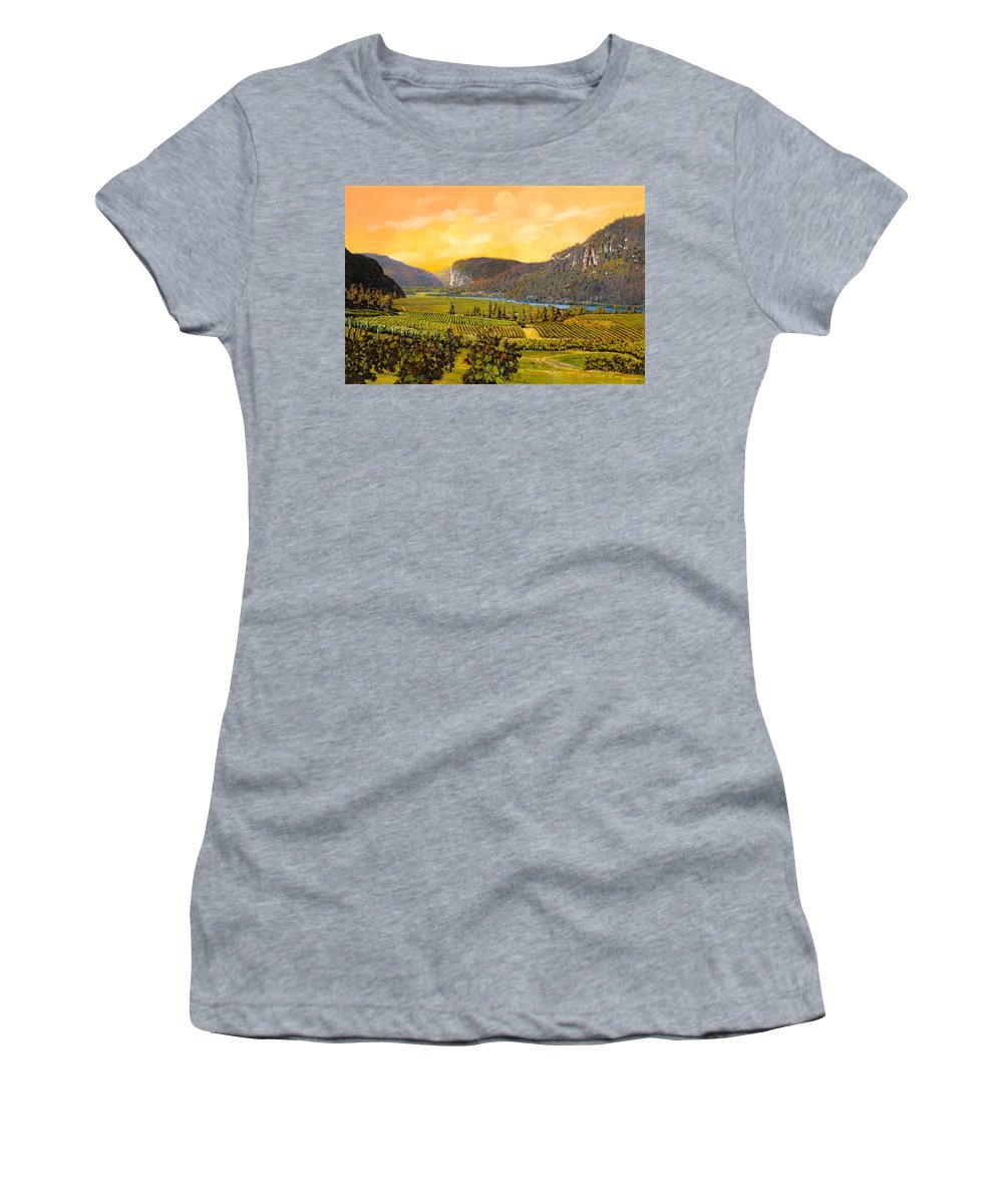 Wine Women's T-Shirt (Athletic Fit) featuring the painting La Vigna Sul Fiume by Guido Borelli