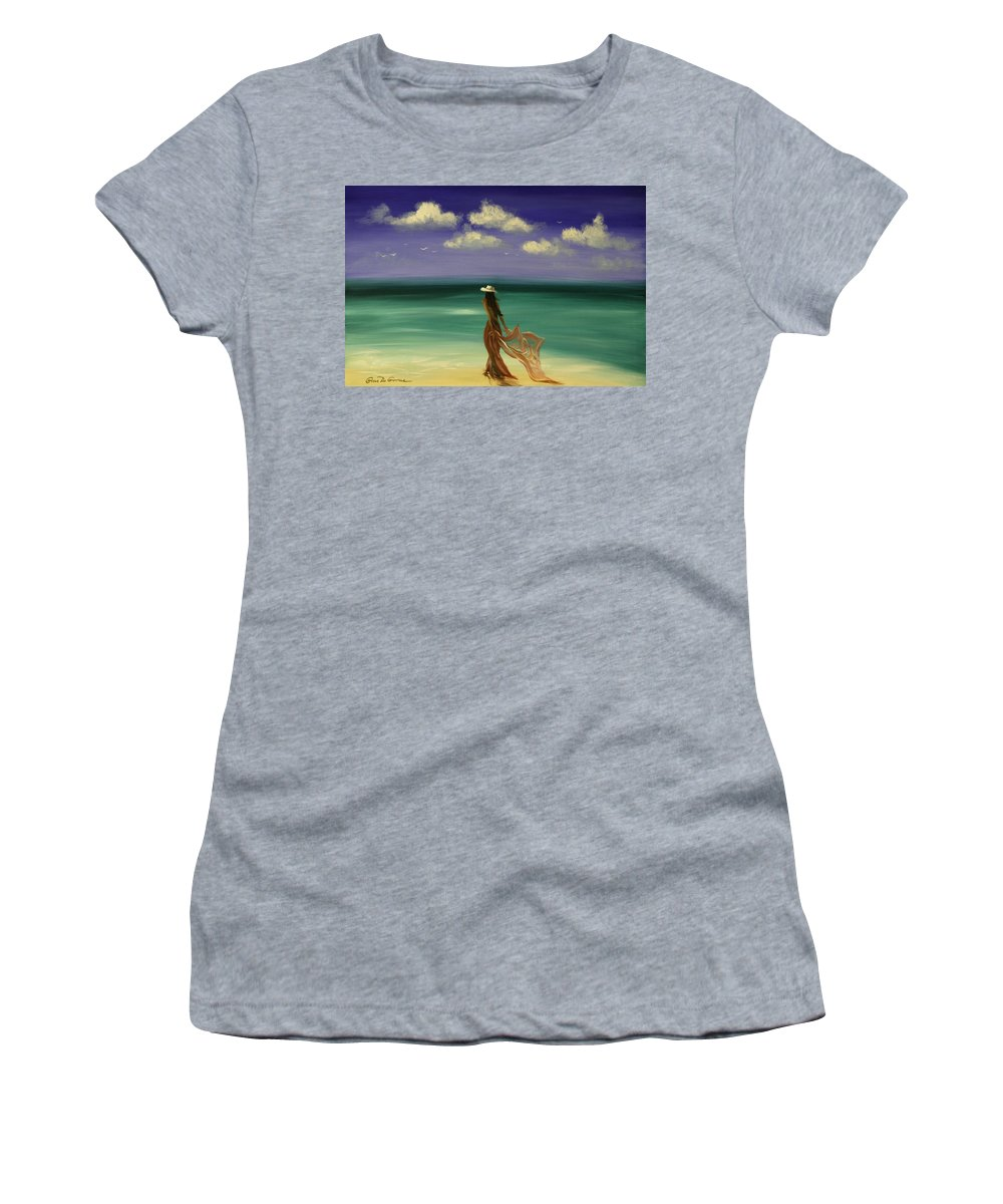 Nice Women's T-Shirt (Athletic Fit) featuring the painting Lady In Red by Gina De Gorna