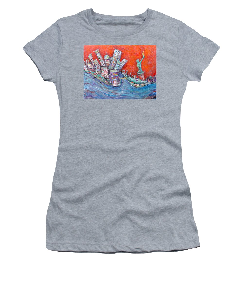 Statue Of Liberty New York City Wall Steet Manhattan Hudson River New Jersey State Park Ellis Island Women's T-Shirt featuring the painting Lady Liberty by Jason Gluskin