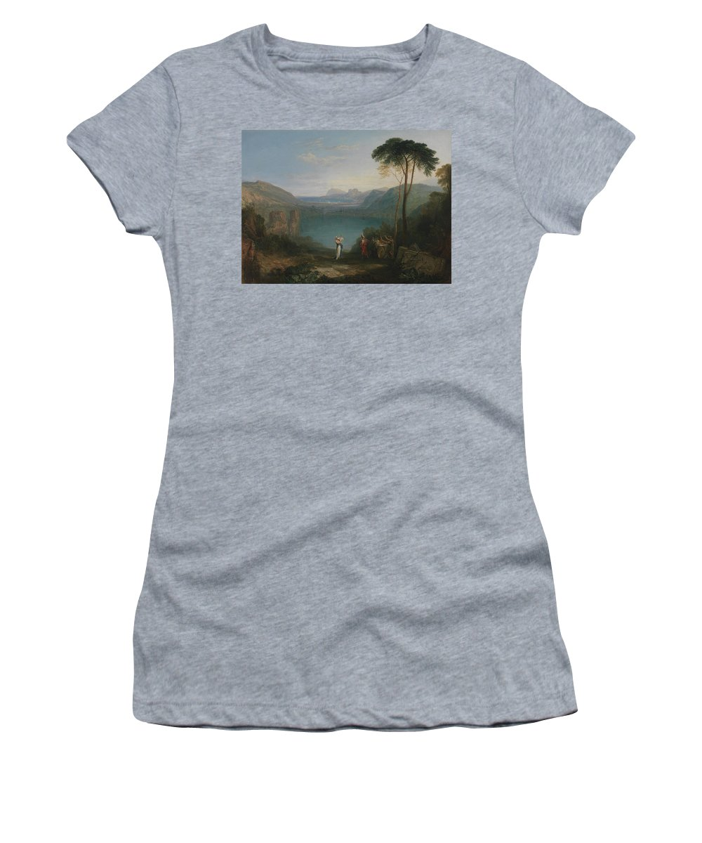Lake Avernus Women's T-Shirt (Athletic Fit) featuring the painting Lake Avernus - Aeneas And The Cumaean Sybil by Grypons Art