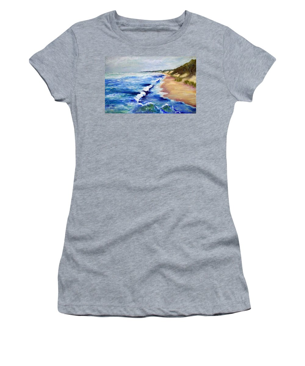 Whitecaps Women's T-Shirt featuring the painting Lake Michigan Beach With Whitecaps by Michelle Calkins