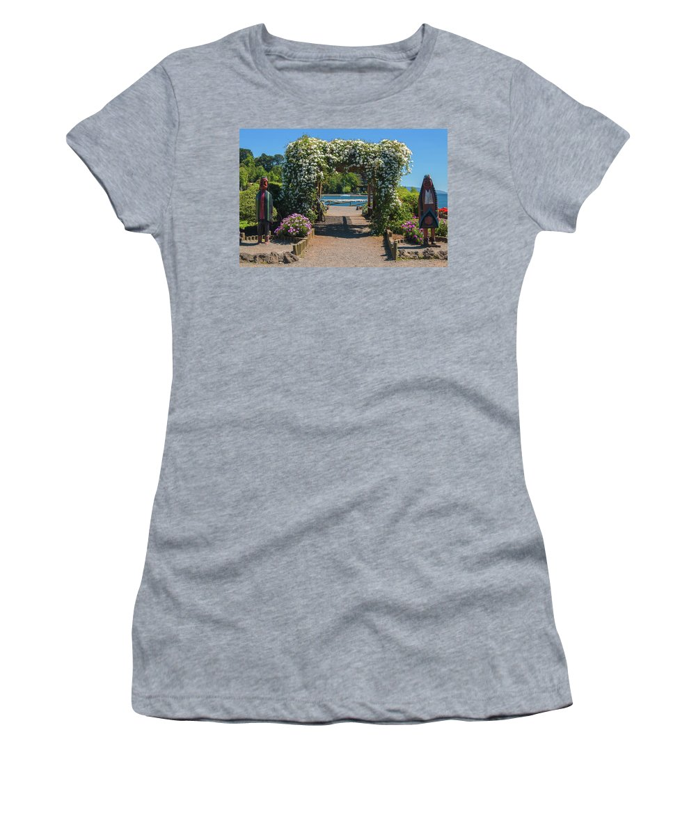Landscapes Women's T-Shirt (Athletic Fit) featuring the photograph Lale Villarrica, Pucon, Chile by Robert McKinstry
