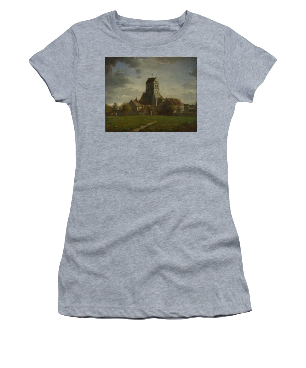 Follower Women's T-Shirt (Athletic Fit) featuring the digital art Landscape With Buildings by PixBreak Art