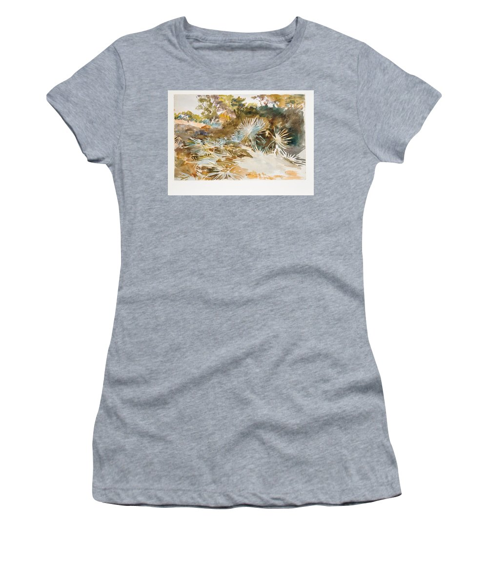 Landscape With Palmettos Women's T-Shirt (Athletic Fit) featuring the painting Landscape With Palmettos by John Singer