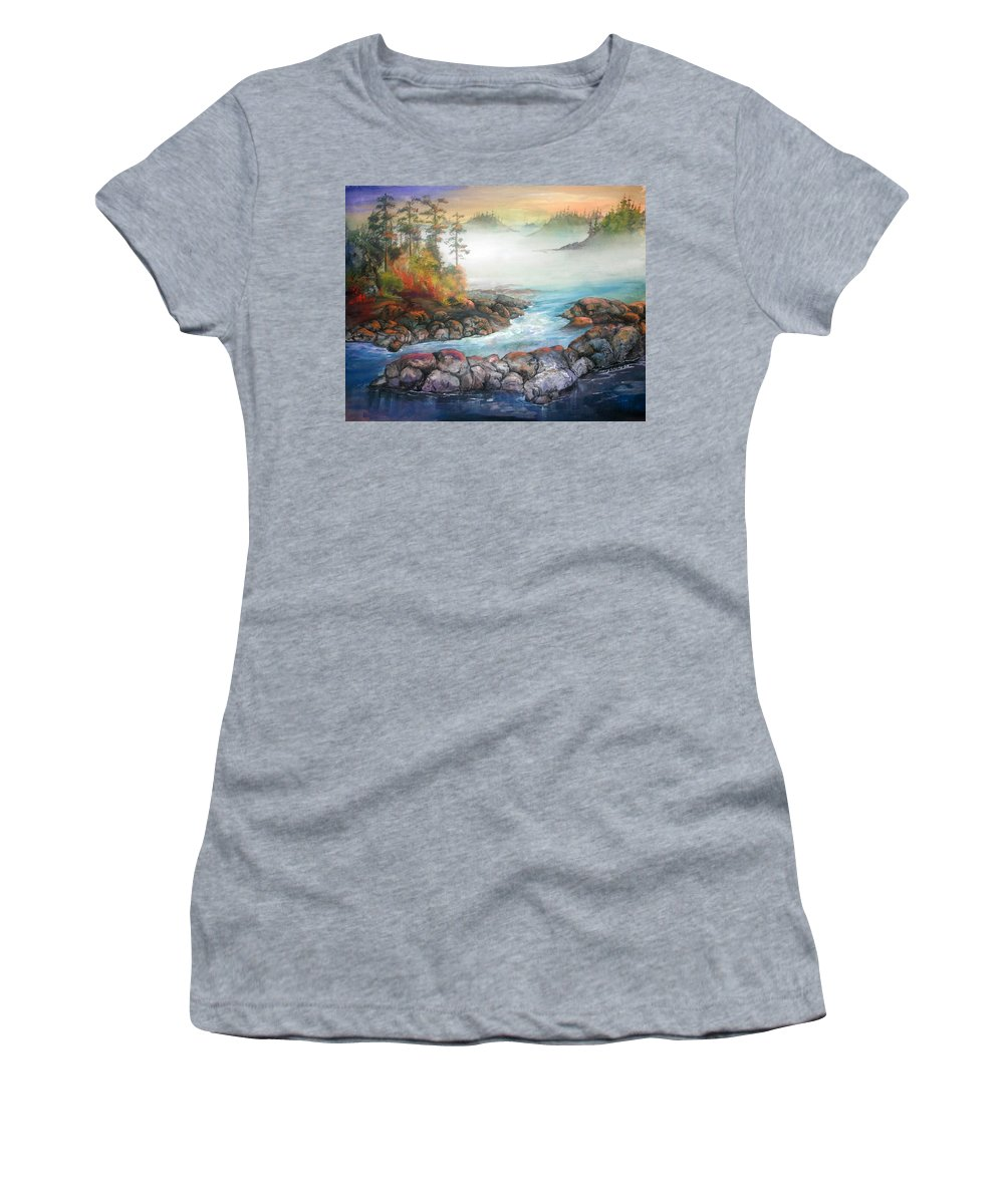 Seascape Women's T-Shirt (Athletic Fit) featuring the painting Last Light by Sherry Shipley