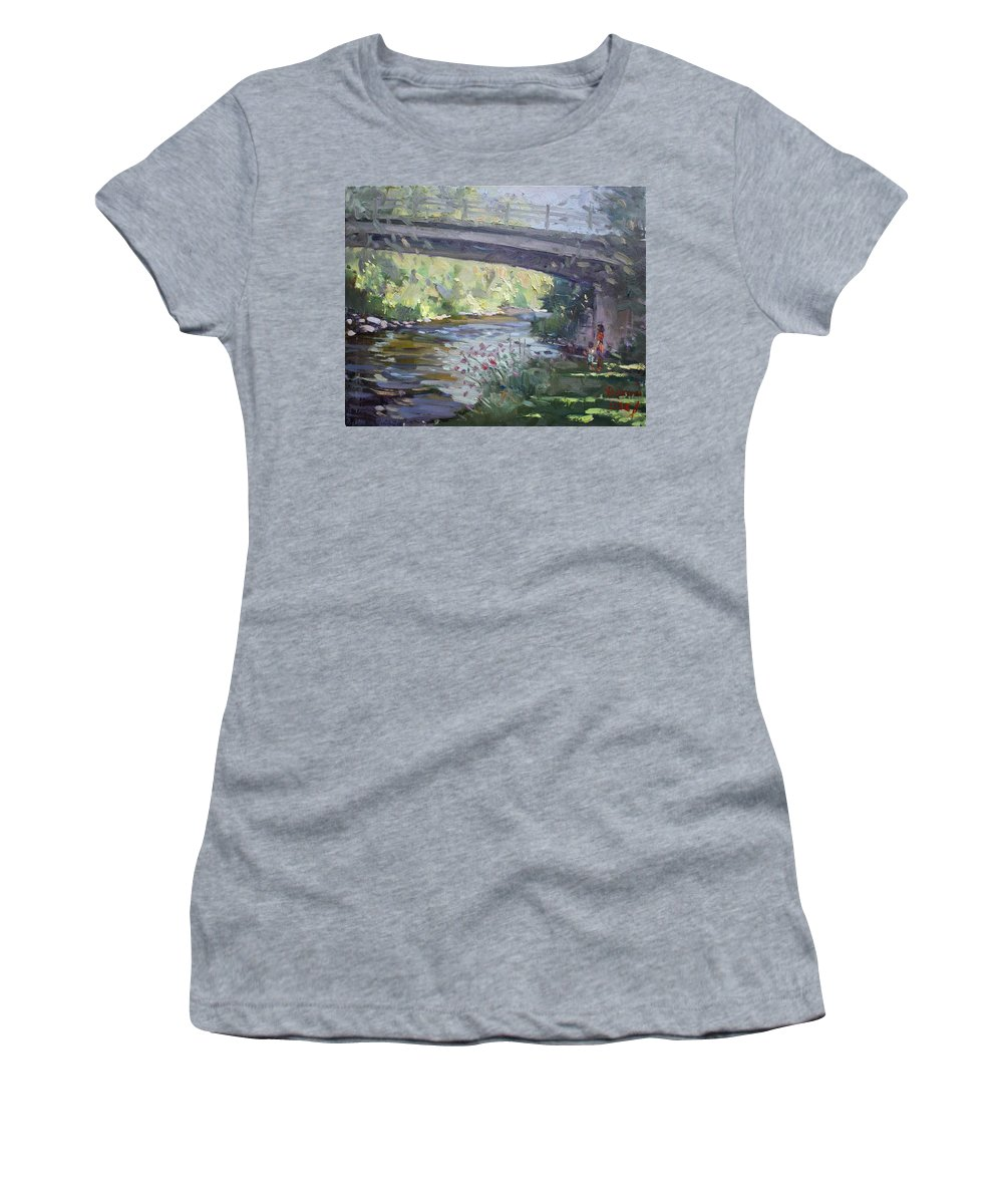 Late Afternoon Women's T-Shirt (Athletic Fit) featuring the painting Late Afternoon At Mcnab Park by Ylli Haruni