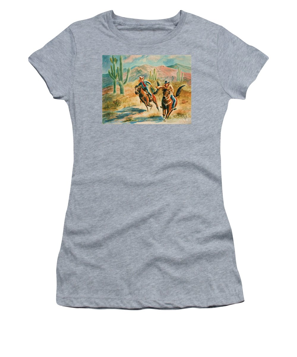 Pony Express Women's T-Shirt (Athletic Fit) featuring the painting Lateral Pass by Marilyn Smith