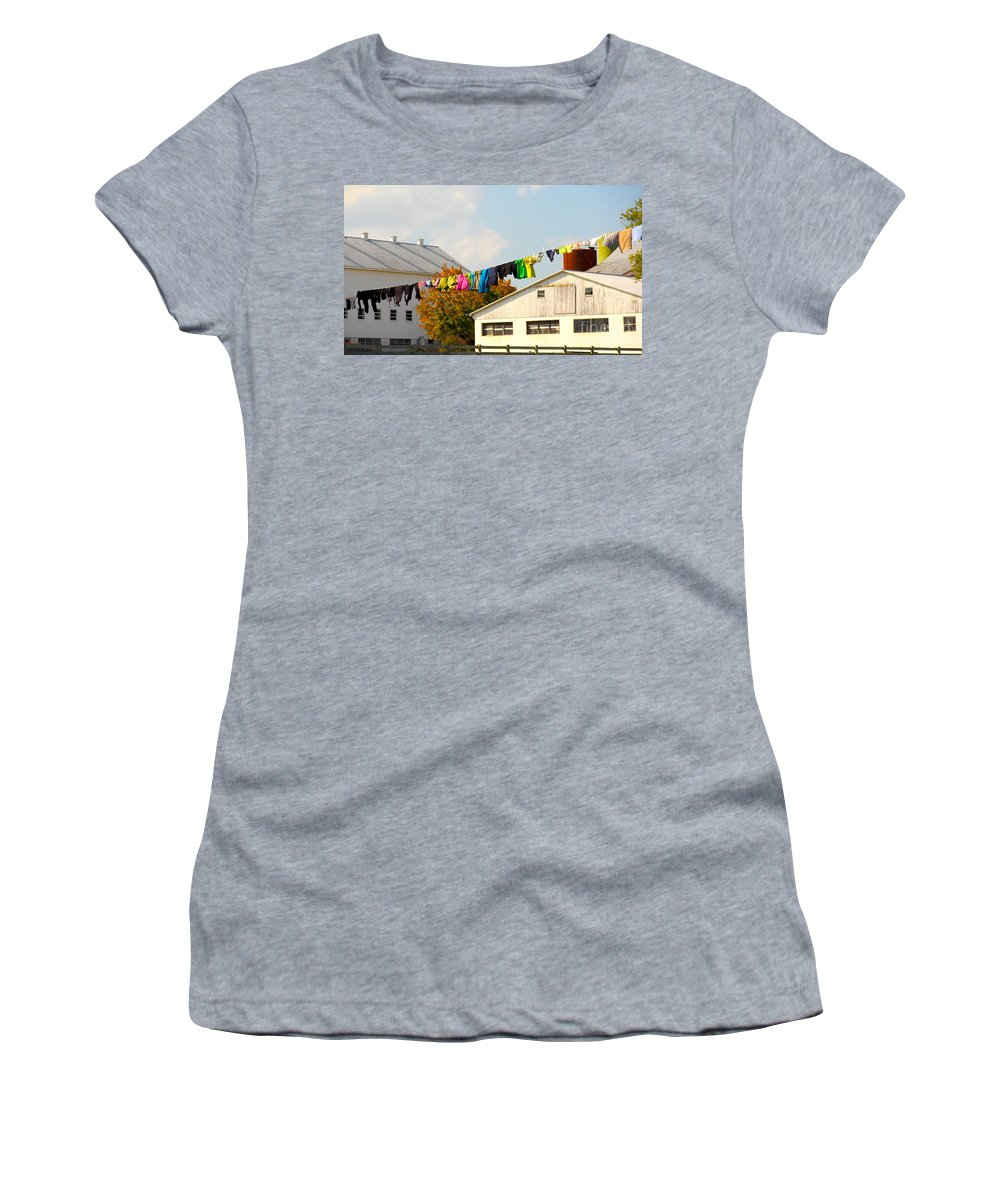 Clothes Women's T-Shirt (Athletic Fit) featuring the photograph Laundry Day by Gerri Ricci