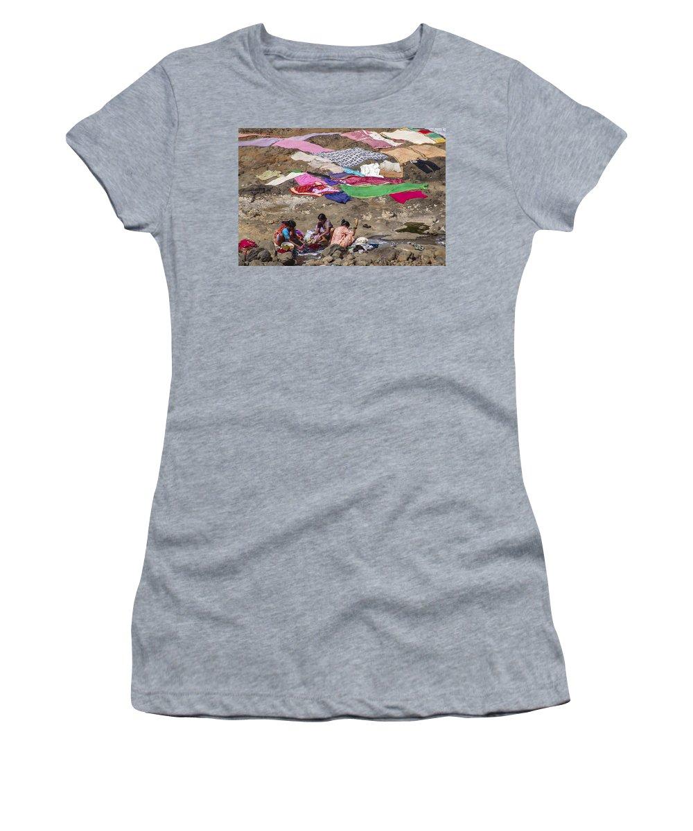 Laundry Women's T-Shirt featuring the photograph Laundry by Hitendra SINKAR
