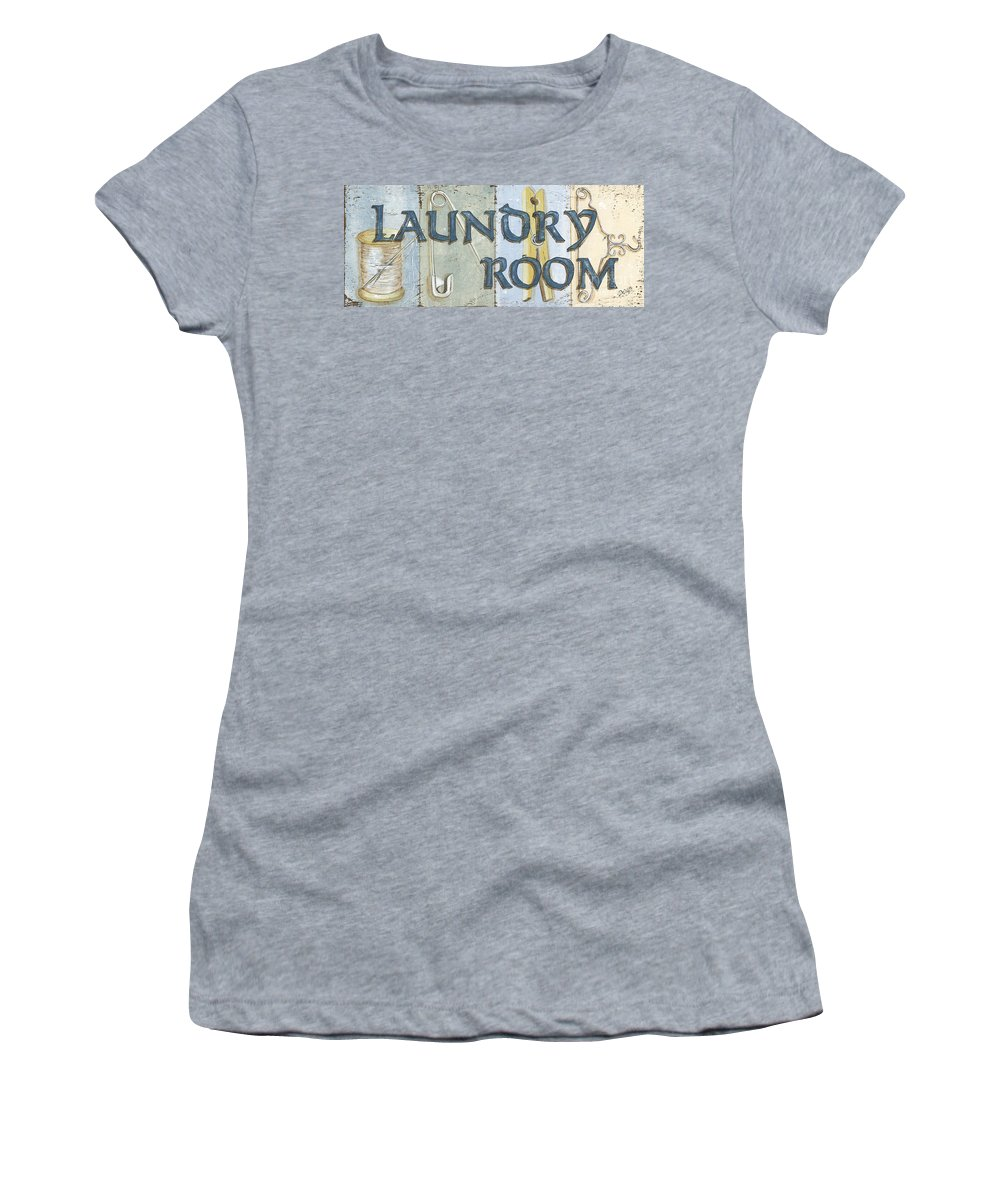 Laundry Room Women's T-Shirt (Athletic Fit) featuring the painting Laundry Room by Debbie DeWitt
