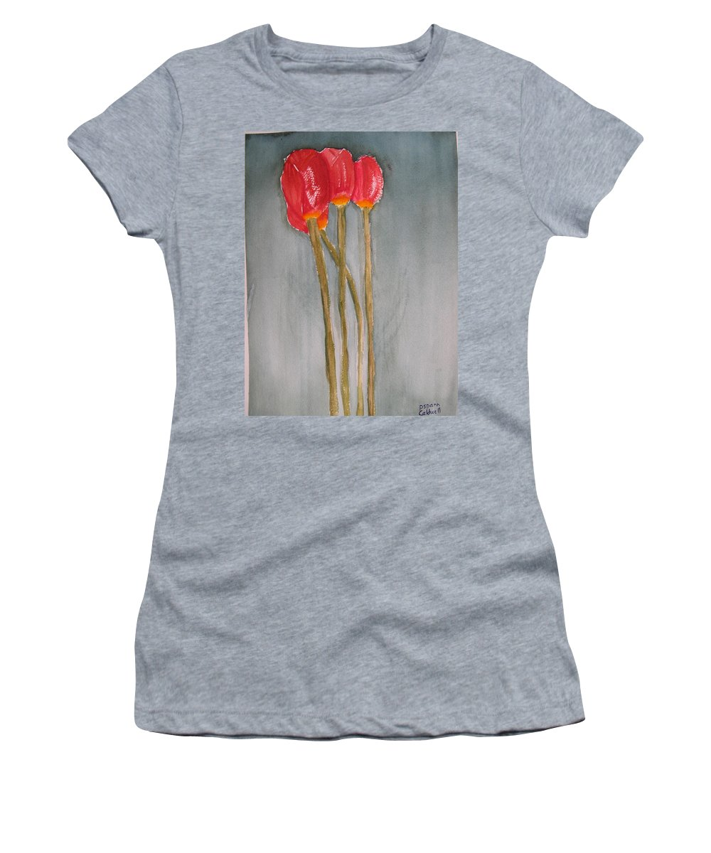 Tulip Flower Bouquet Women's T-Shirt (Athletic Fit) featuring the painting Laura by Patricia Caldwell