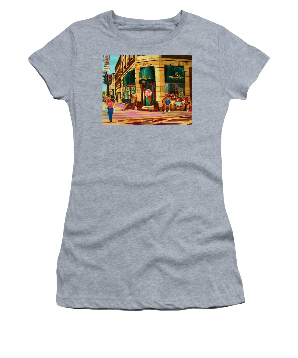 Montreal Streetscenes Women's T-Shirt (Athletic Fit) featuring the painting Laura Secord Candy And Cone Shop by Carole Spandau