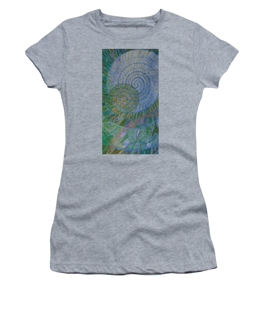 Calligraphy Women's T-Shirt (Athletic Fit) featuring the painting Learning Curves by Sid Freeman