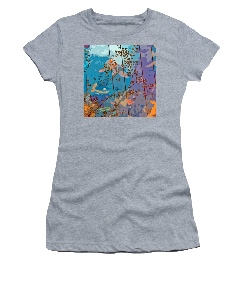Leaves Women's T-Shirt (Athletic Fit) featuring the painting Leaves And Wire by Stephen Anderson