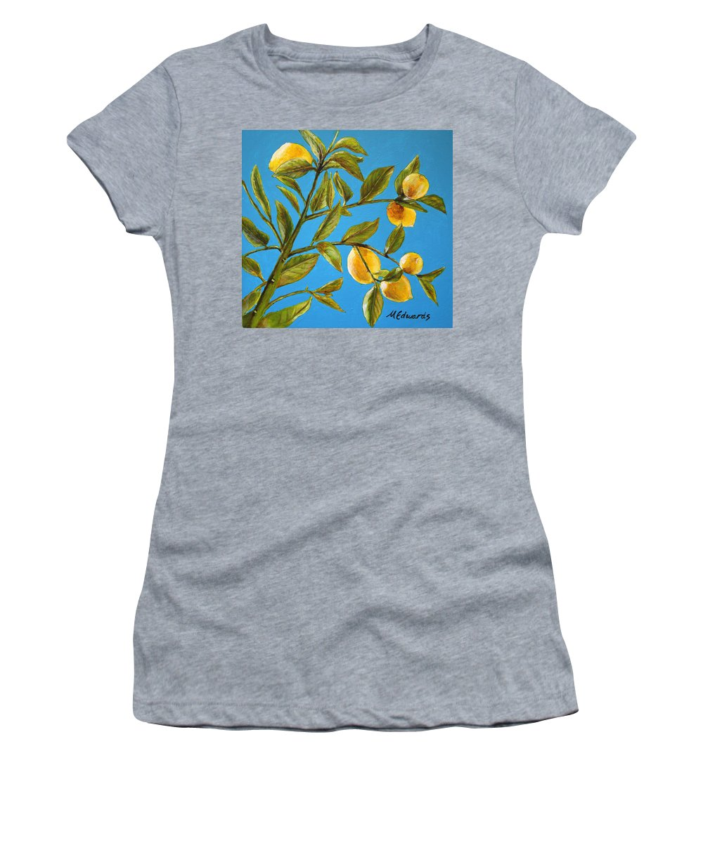 Lemons Women's T-Shirt (Athletic Fit) featuring the painting Lemon Tree by Marna Edwards Flavell
